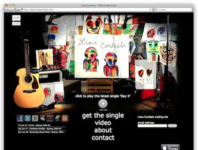 website design for lime cordiale which is a band on the northern beaches using html